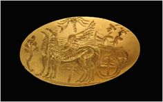 Gold signet ring depicting deities in a chariot dragged by griffins. Unique theme can be found only in Minoan Crete. Anthia (tholos tomb) 16th-15th BC century. http://arxaiathouria.files.wordpress.com/2012/10/cf87cf81cf85cf83cf8ccf82-cf83cf86cf81ceb1ceb3ceb9cf83cf84ceb9cebacf8ccf82-ceb4ceb1cebacf84cf8dcebbceb9cebfcf82.jpg