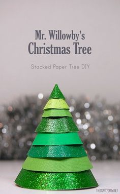 Bella Dia stacked paper Christmas tree craft to go with Mr. Willowby's Christmas Tree
