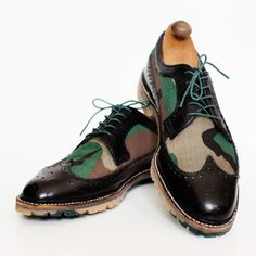 Greenwhich Vintage - Built-To-Order Wingtip Shoes With Colored Soles - Camo-style wingtips