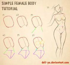 Anatomy Drawing Female Simple Female Body Tutorial by deli-Yu - Body Sketches, Anatomy Sketches, Anatomy Drawing, Art Drawings Sketches Simple, Anatomy Art, Human Anatomy, Body Tutorial, Body Drawing Tutorial, Manga Drawing Tutorials
