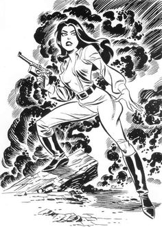 "cooketimm: Valkyrie by Bruce Timm+ Fred Kida (1943), Dave Stevens (1986), Brian Bolland (1987), Joe Chiodo (2004)Valkyrie is the codename of Liselotte von Schellendorf, the main rival and love interest of Airboy. She first appeared in ""Air Fighers Comics"" vol.2 #2 (November, 1943). Download or watch preview: digitalcomicmuseum.com"