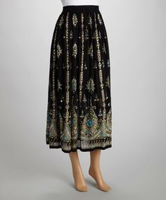 Love this Black & Turquoise Paisley Embellished Maxi Skirt by The OM Company on #zulily! #zulilyfinds
