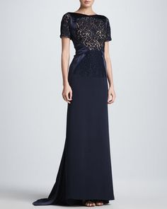 Lace Sheer-Overlay Gown by J. Mendel at Neiman Marcus.