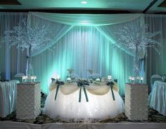 Cake table but use royal blue bows & silver draping & 2 blue curtains draped