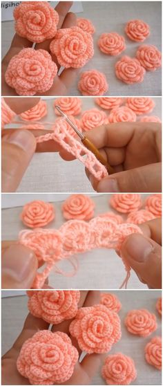 Roses Au Crochet, Crochet Flower Patterns, Crochet Motif, Crochet Designs, Crochet Flowers, Knitting Patterns, Crochet Stitches, Easy Crochet, Crochet Crafts