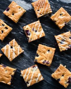 Blueberry Blondies - These blueberry blondies are a nice summer treat and a nice alternative to chocolate brownies. Drizzle with white chocolate glaze at the end if you want to dress them up or just enjoy them as is. Chocolate Glaze, White Chocolate Chips, Chocolate Brownies, Blue Jean Chef, Sweet Recipes, Bar Recipes, Chef Recipes, Recipies, Dessert Recipes