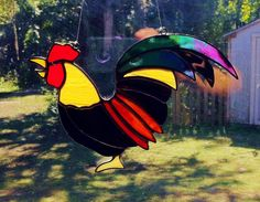 Original Custom Stained Glass Rooster Sun by StainedGlassAndMore