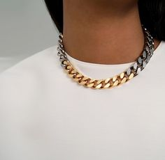 Vita Fede Franco Two Tone Necklace in Gold & Gunmetal, perfect layered over a basic white tee.