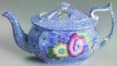 Spode China Wild Flower - Blue Teapot & Lid