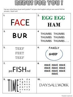 Free, printable rebus worksheet from Puzzles to Print. Features 10 visual word puzzles to get adults and kids thinking outside of the box. Rebus Puzzles, Logic Puzzles, Word Puzzles, Mind Games Puzzles, Printable Brain Teasers, Brain Teaser Puzzles, Picture Puzzles Brain Teasers, Brain Teasers For Kids, 1 Gif
