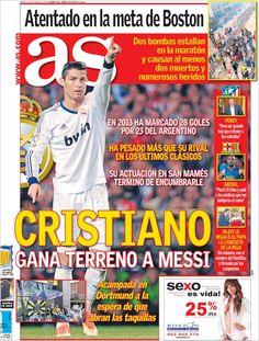 Los Titulares y Portadas de Noticias Destacadas Españolas del 16 de Abril de 2013 del Diario Deportivo As ¿Que le parecio esta Portada de este Diario Español?