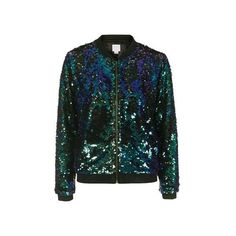 Sequin Bomber Jacket by We All Shine ($190) ❤ liked on Polyvore featuring outerwear, jackets, blue, flight jacket, sequined jackets, blue sequin jacket, blue jackets and blue bomber jacket