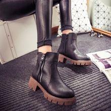 e416b84c5a744 Otoño e invierno para zapatos moda vintage tobillos botas mujer botas de  cuero de tacón grueso