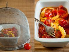 Falsa trippa ovvero striscie di omelette con salsa di pomodori e timo