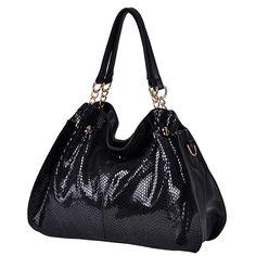 Dresswe.comサプライ品ファッション リアルレザー スネークプリント レディースハンドル/ショルダーバッグ ハンドバッグ