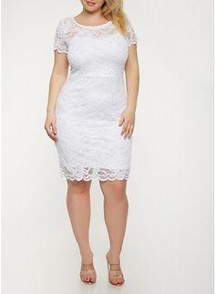 Plus Size Lace Bodycon Dress,WHITE