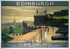 Vintage travel poster produced for the London & North Eastern Railway (LNER) showing a young woman admiring the view from the ramparts of Edinburgh Castle. Artwork by A van Anrooy. Edinburgh Travel, Edinburgh Castle, Scotland Travel, Edinburgh Scotland, Castle Scotland, Vintage Art Prints, Poster Vintage, Vintage Travel Posters, Vintage Artwork
