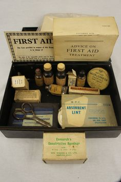 Etsy listing at https://www.etsy.com/listing/219861890/vintage-antique-first-aid-kit-complete