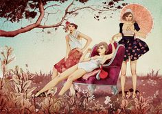 Another beautiful artwork by #Ëlodie...love it! <3 #country #woman #sofa