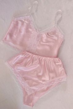 f06c4b06d Camisole and Knicker Lingerie Sleep Set Boudoir colours) Pastel Satin and  White lace