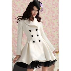 USD33.99Fashion Turndown Collar Long Sleeve Double Breasted White Long Wool Coat