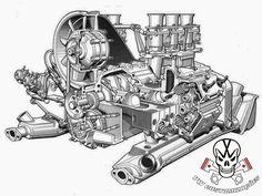 Porsche Vector Engine by Gocilla on DeviantArt Maserati, Bugatti, Ferrari, Porsche 911 Engine, Porsche Cars, Porsche 356, Vw Cars, Mercedes Benz 300, Motorcycle Engine