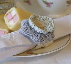 Set Of Four Rose Crochet Napkin Holders £12