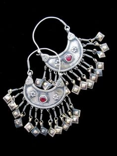 Tribal Jewelry - Big Vintage Kashmiri Crescent Dangle Earrings