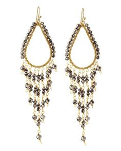 Y1VNR Nakamol Czech Crystal Beaded Chandelier Earrings, Hematite