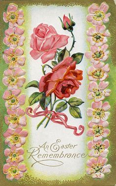 Wonderfully pretty rose illustrated Easter greeting card. #pink #flowers #roses #Easter #vintage #card