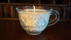 Vintage Glass Cup Candle OOAK Ready to by BlueHenCandleCompany