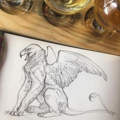 Drink a draw with Annie Fantasy Creatures, Mythical Creatures, Griffin Drawing, Griffin Mythical, Fox Art, Drawing Sketches, Drawing Ideas, Animal Drawings, Art Reference
