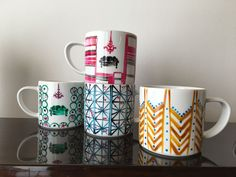 Decorazione a freddo su ceramica. Lavabile in lavastoviglie. In Loco, Mugs, Tableware, Rose, Dinnerware, Pink, Tumblers, Tablewares, Mug