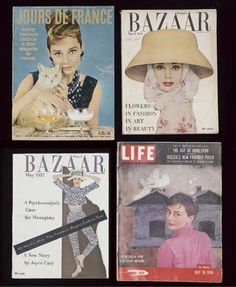 Seven magazines all featuring Audrey Hepburn on the cover comprising six U.S. editions: Time, September, 1953; Life, April, 1954 and July, 1955; Glamour, December, 1955; Harper's Bazaar, April, 1956, cover photograph by Richard Avedon and May, 1957; and Jours De France, January, 1962