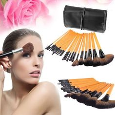 24+in+1+Professional+Cosmetic+Makeup+Brushes+Kit+with+Leather+Case