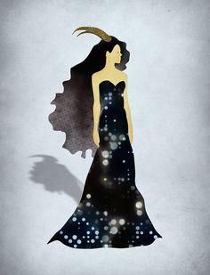 Capricorn Zodiac Art Print, Fashion Illustration, December January Birthday Gift