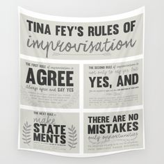 Tina Fey, Improvisation, improv, theater, theatre, comedy, bossypants tapestry Theatre Games, Teaching Theatre, Drama Teacher, Drama Class, Drama Drama, Middle School Drama, Drama Education, Improv Comedy, Drama Games