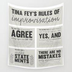 Tina Fey, Improvisation, improv, theater, theatre, comedy, bossypants tapestry