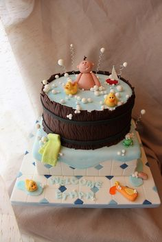 Baby in the tub cake by Andrea's SweetCakes, via Flickr