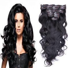 MeDo Hair 7A Malaysian Clip In Human Hair Extensions Remy Virgin Clip In Hair Extensions Natural Human Wavy Hair 1B# 70g-220g  //Price: $US $17.92 & FREE Shipping //     #fashion #women #wig #wigs #hair #blond #darkhair #beauty #style Real Hair Extensions, Womens Wigs, Wigs For Black Women, Dark Hair, Long Hair Styles, Beauty Style, Blond, Fashion Women, Free Shipping