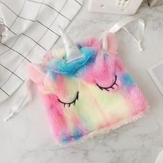 Lovely Ice cream Rainbow Unicorn slippers Pocket Coin bag Colorful Plush Toy soft animal stuffed Kawaii gift for child girl Size: slipper about for EUR Pocket Material: soft plush and pp cottonCondition: new and high qual