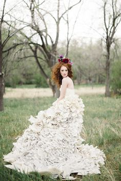 Wedding dress made from book pages | Bellamint Photography and Sunflower Creative | see more on: http://burnettsboards.com/2014/09/literary-wedding-book-page-wedding-dress/