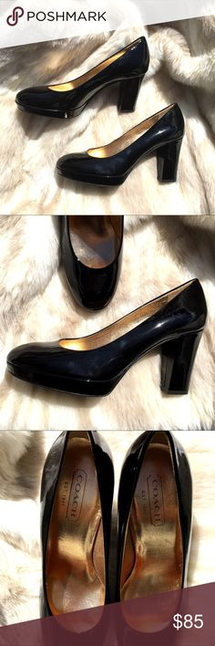 """Coach Black Patent Leather Pumps """"Fern"""" Gorgeous Coach black shiny patent leather pumps. Perfect for the holidays. Made in Italy. Style name is """"Fern"""". 3 1/2""""  block heel 1/4"""" front platform. Gold interior. No toe or foot marks. No visible wear on heels. Minor wear on sole. Excellent preowned condition. Original retail $325.00 Coach Shoes Heels"""