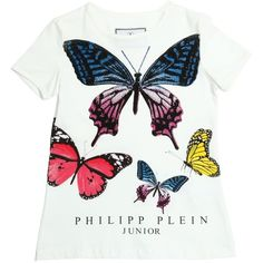 Philipp Plein Junior Kids-girls Butterfly Printed Cotton Jersey... (660 PLN) ❤ liked on Polyvore featuring white