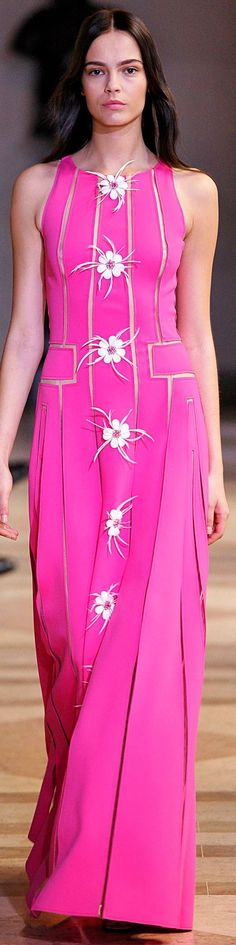 Carolina Herrera Spring 2016 pink maxi dress women fashion outfit clothing style apparel @roressclothes closet ideas