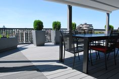 BAMDECK - BAMBOO COMPOSITE slate color.  Installed on a roof terrasse.