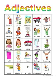 Adjectives Bingo set worksheet - Free ESL projectable worksheets made by teachers Adjectives For Kids, Adjectives Activities, English Adjectives, Nouns And Adjectives, Grammar Activities, Learning English For Kids, Teaching English Grammar, Kids English, English Class