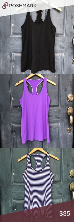 Lululemon blouse bundle Women's lululemon blouse bundle!!!! Size I think are 8-10 -/ in used condition / great for walk in the park / women's purple black and blue stripes / workout / women's tank tops lululemon athletica Tops Tank Tops