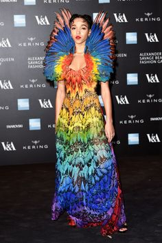 Last Night's McQueen Gala Was Like The Goth Prom #refinery29  http://www.refinery29.com/2015/03/83794/alexander-mcqueen-savage-beauty-benefit-pics#slide-2  Making the biggest splash of the night, FKA Twigs turned up in one of the most dramatic McQueen looks of all time — a spring '08 gown with a halo of feathers in every color of the rainbow. Mic dropped.