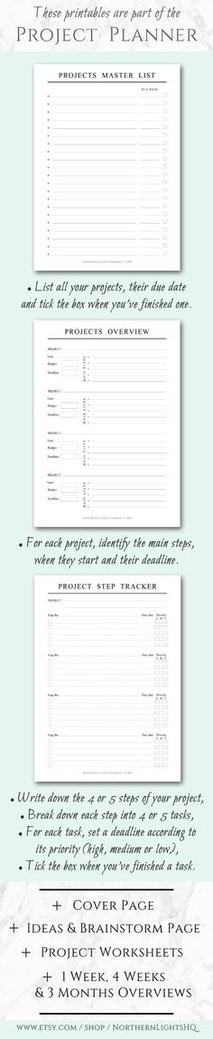 These printables are part of the Project Planner Set. It contains everything you need to organize your projects, break down each project into manageable steps and create a plan of action | 1. Cover Page, 2. Projects Master List, 3. Projects Overview, 4. Ideas & Brainstorm Page, 5. Project Step Tracker, 6. Small Project Worksheet, 7. Big Project Worksheet, 8. Three Months Planner, 9. Four Weeks Planner, 10. One Week Planner | A4, A5, Half-Letter | Minimalist Planner Inserts by Northern Lights